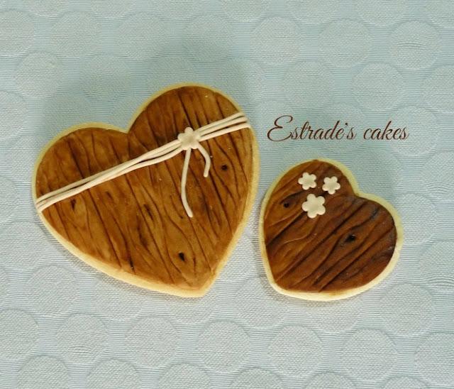 Galletas de boda simulando madera 2