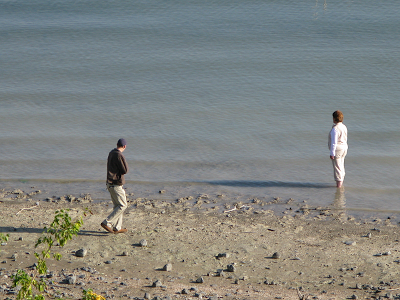 Walking on the shore of Galilee