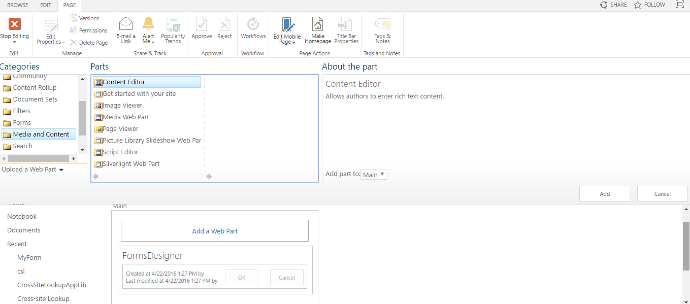 Adding content editor web part to a sharepoint form