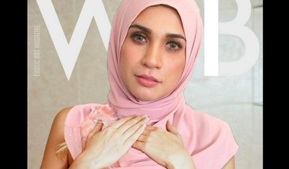 Gambar Pelakon Izreen Azminda memakai Tudung Tapi Tak Pakai Baju Dan Coli Sebagai Model Cover Majalah Bogel Viral Di Tumble