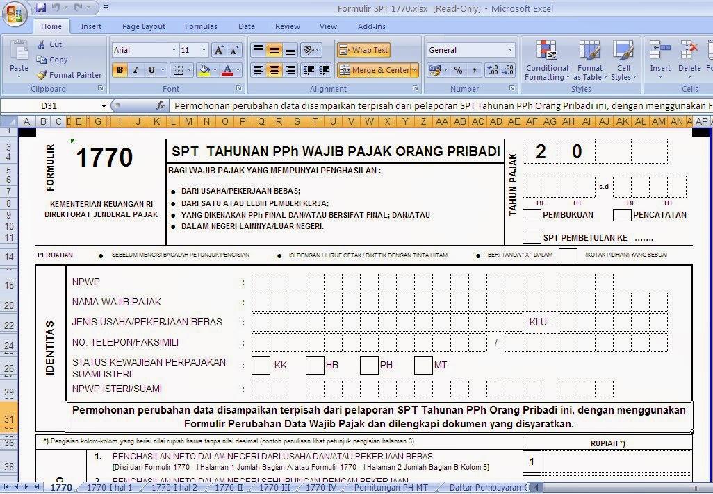 Tombo Ati Online Formulir Spt Tahunan 2015 Excel Perubahan Formulir 1770