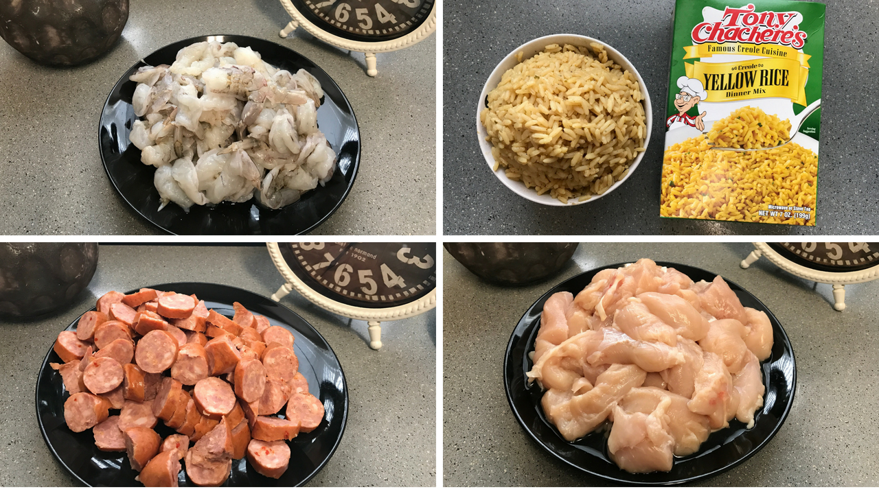 Image: The meats used to make gumbo. Shrimp, Chicken, Sausage and Yellow Rice