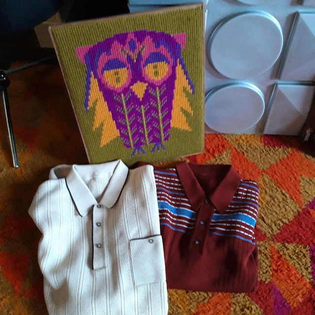 un chouette canevas années 70 70s owl canvas 1960s 60s knit polo sweater