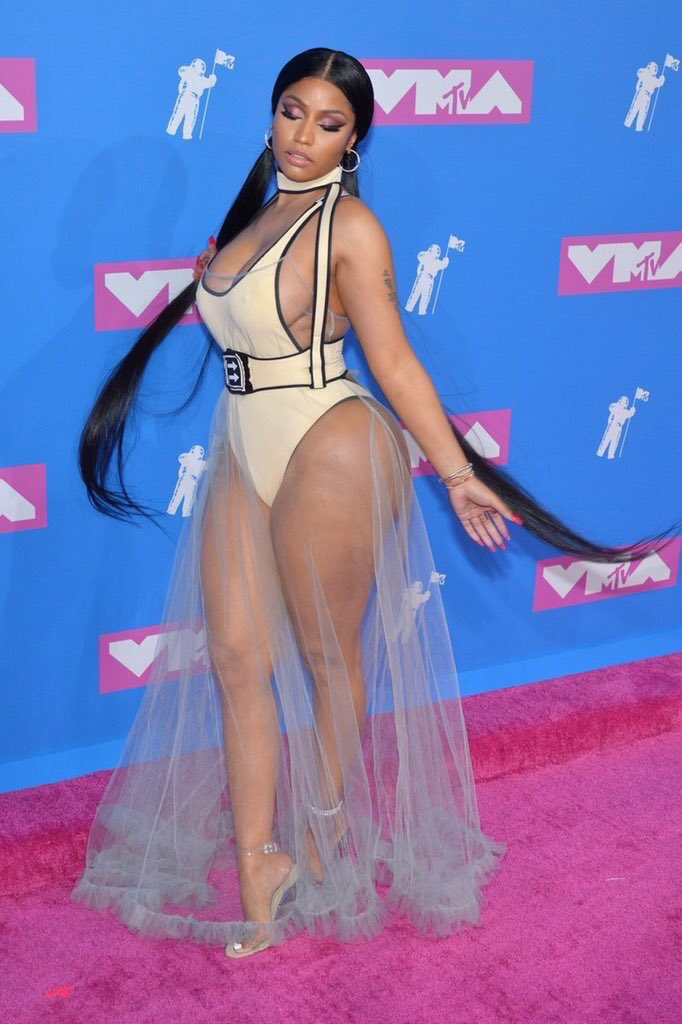 Nicki Minaj Wears a Completely See-Through Dress at 2018 MTV VMAs