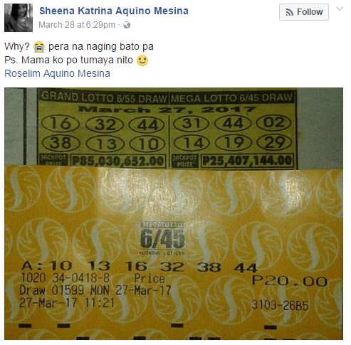VIRAL ► This Pinay Girl Almost Won 85M In Lottery But This Happened That Make Her Say Pera na naging bato pa'