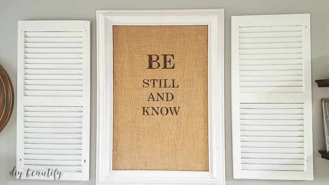 burlap stenciled home decor