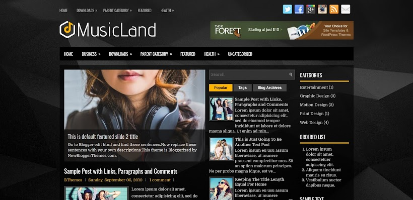 MusicLand Free Blogger Template