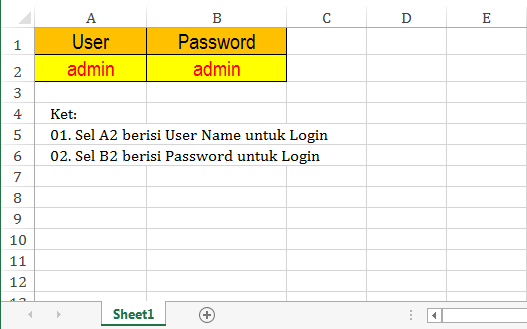 User dan Password Form Login Excel