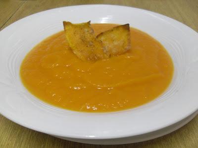 Crema de calabaza y zanahoria con jengibre.