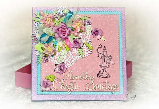 pamiątka chrztu świętego, dla dziewczynki, z okazji chrztu, prezent od matki chrzestnej, kartka z okazji chrztu, komplet na chrzest, prezent od matki chrzestnej