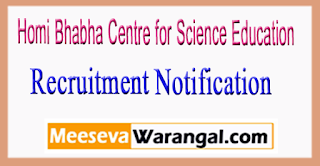 HBCSE Homi Bhabha Centre for Science Education Recruitment Notification 2017
