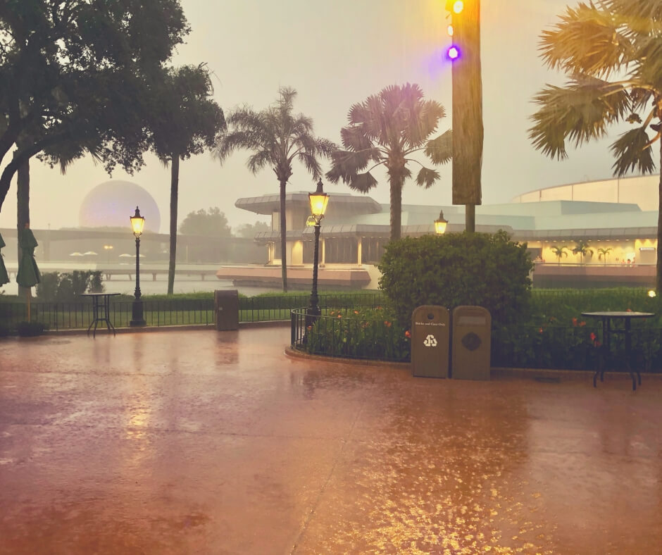 Rain at Epcot, Walt Disney World.
