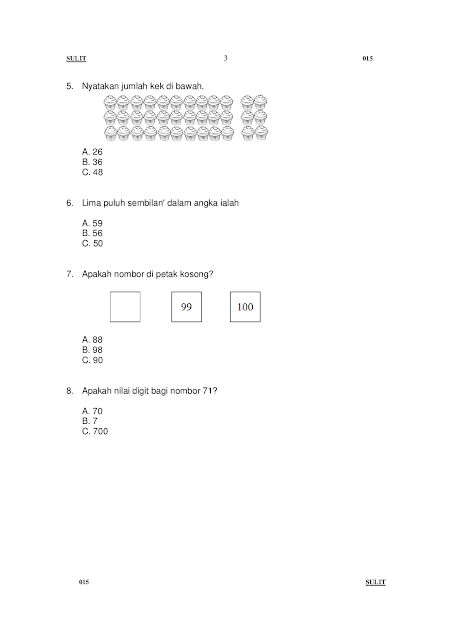 Matematik Tahun 1 Peperiksaan Pertengahan Tahun 2016 muka surat 3