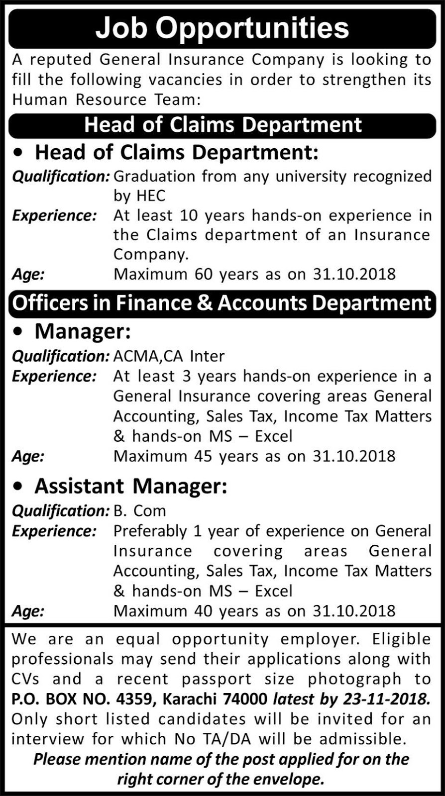 Job Postings Manager, Assistant Manager Required In Karachi 08 November 2018