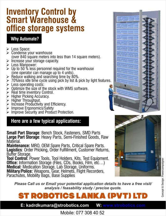 Inventory Control by Smart Warehouse & office storage systems.