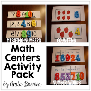 Math Centers Activity Pack: hands-on math centers for Kindergarten!