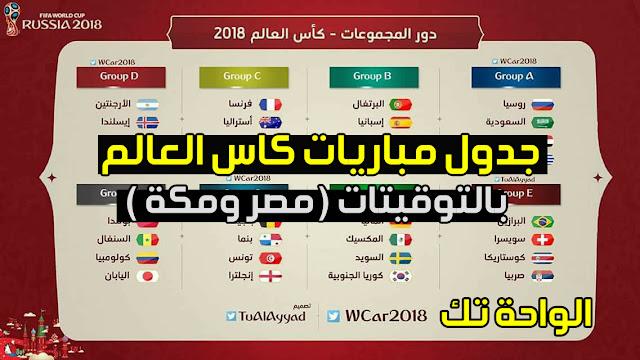 جدول مواعيد وتوقيت مباريات كاس العالم روسيا 2018 + القنوات الناقلة