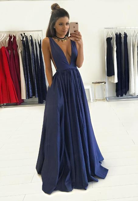 V-Neck Long Floor-Length Gorgeous Sleeveless 2017 Prom Dress –Price US $99