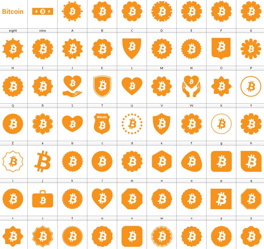 Download Font Bitcoin Color font ttf otf 63 icons Bitcoin 2019 elharrak fonts logos Bitcoin