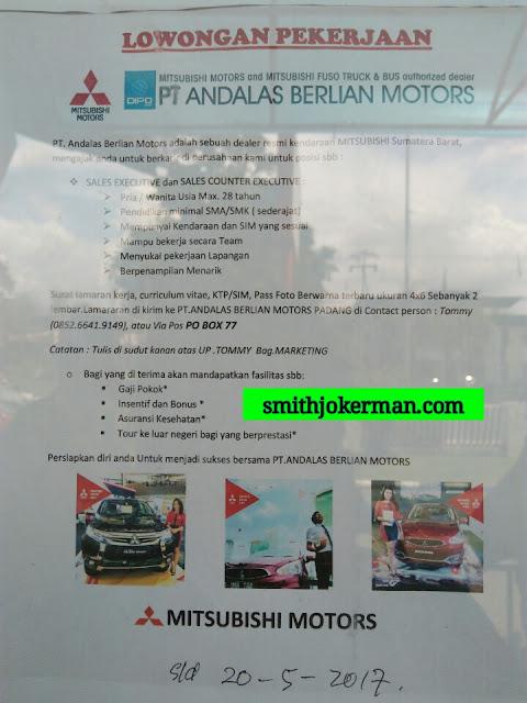 Lowongan Kerja Padang: PT. Andalas Berlian Motors Mei 2017