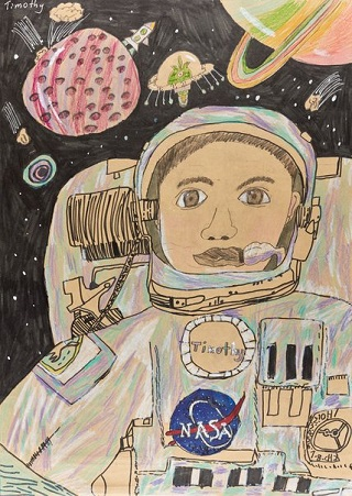 "Honourable Mention Young Archie 2018 - ""Self-portrait in space, my little NASA dream"" by Timothy Su 