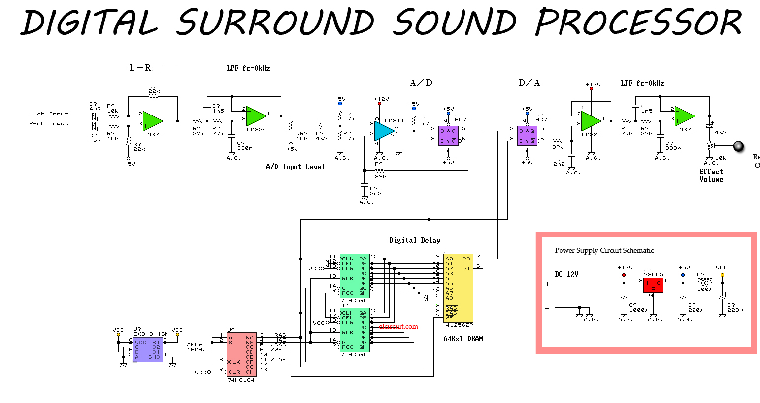 Digital Sound Circuit Diagram Images Voice Recorder Schematic Simple Surround Processor