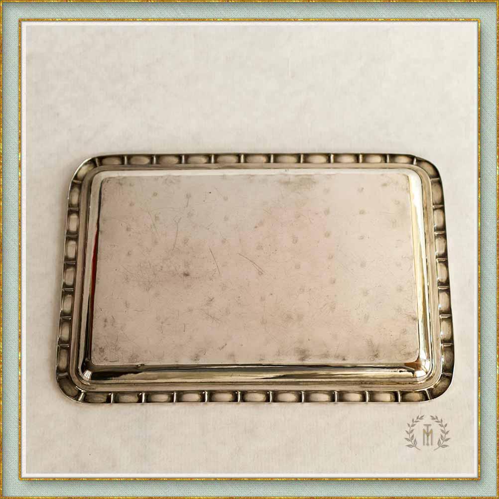 836dd694156 Marina Torres Antigüedades: Bandeja de sobremesa en plata de ley con ...