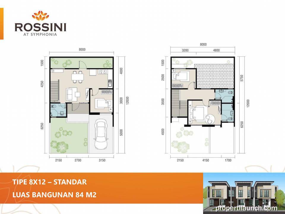 Denah rumah cluster Rossini tipe L8 Standard