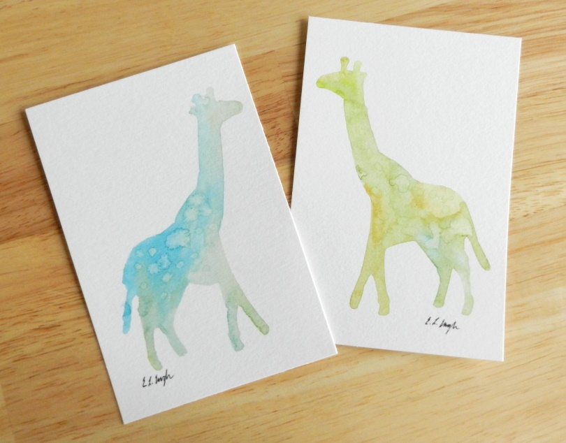 Original Watercolor Giraffe Paintings by Elise Engh (Grow Creative)