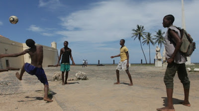 Playing soccer on the island of Sao Tome Central Africa