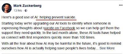 inteligenta artificiala facebook stop sinucideri