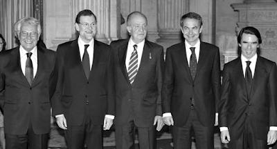 Ex presidentes junto al rey Juan Carlos de Borbón