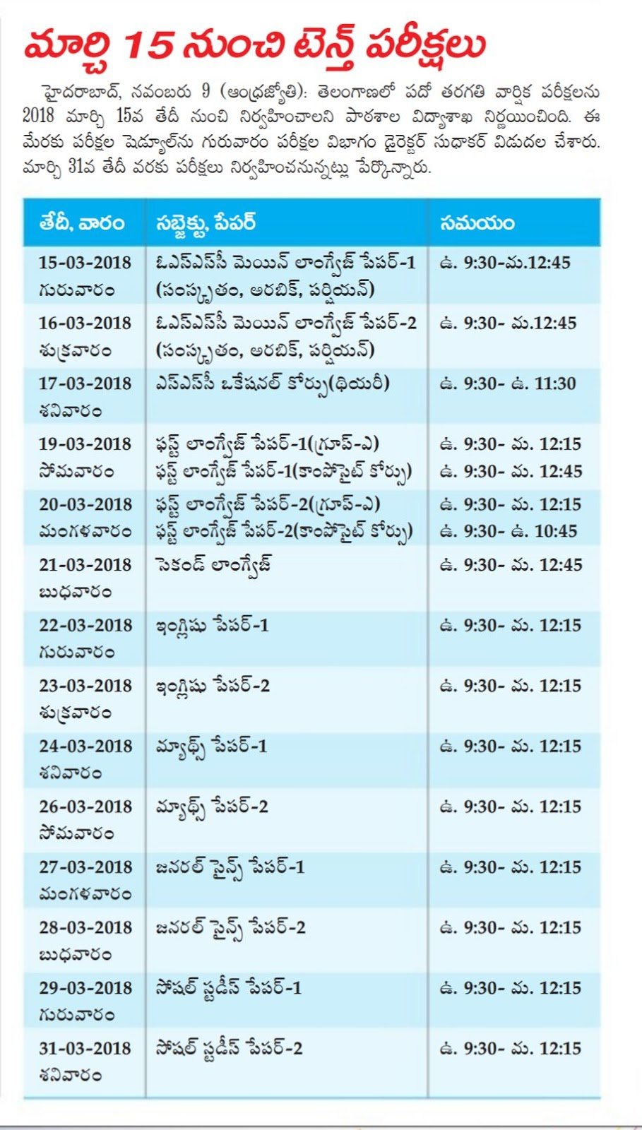 TS 10th Class Time Tables 2018