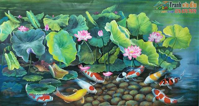 tranh hoa sen cá chép