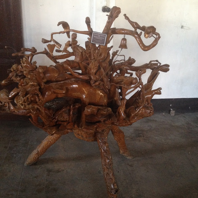 Wood carving at  the Don Bernardino Jalandoni Ancestral House and Museum