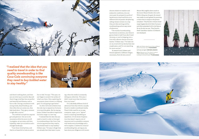Professional snowboarder Josh Dirksen Patagonia mountain lifestyle catalog.