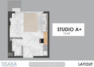 Tipe Studio A Apartemen Osaka Riverview