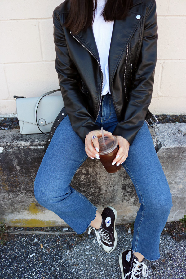 Cropped Flared, Jeans, Leather Jacket, Converse