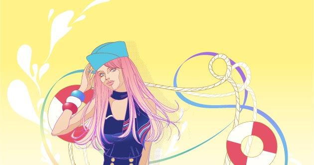 お洒落なマリンファッションの美女 Casual Fashion Beauty Vector イラスト素材