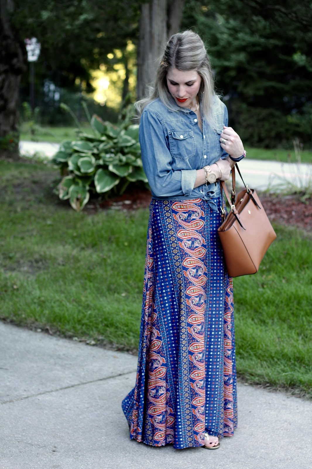 Printed maxi dress with chambray over top, gold sandals, Tory Burch tote