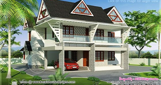 223 Square Meter Modern Sloping Roof Home Home Kerala Plans