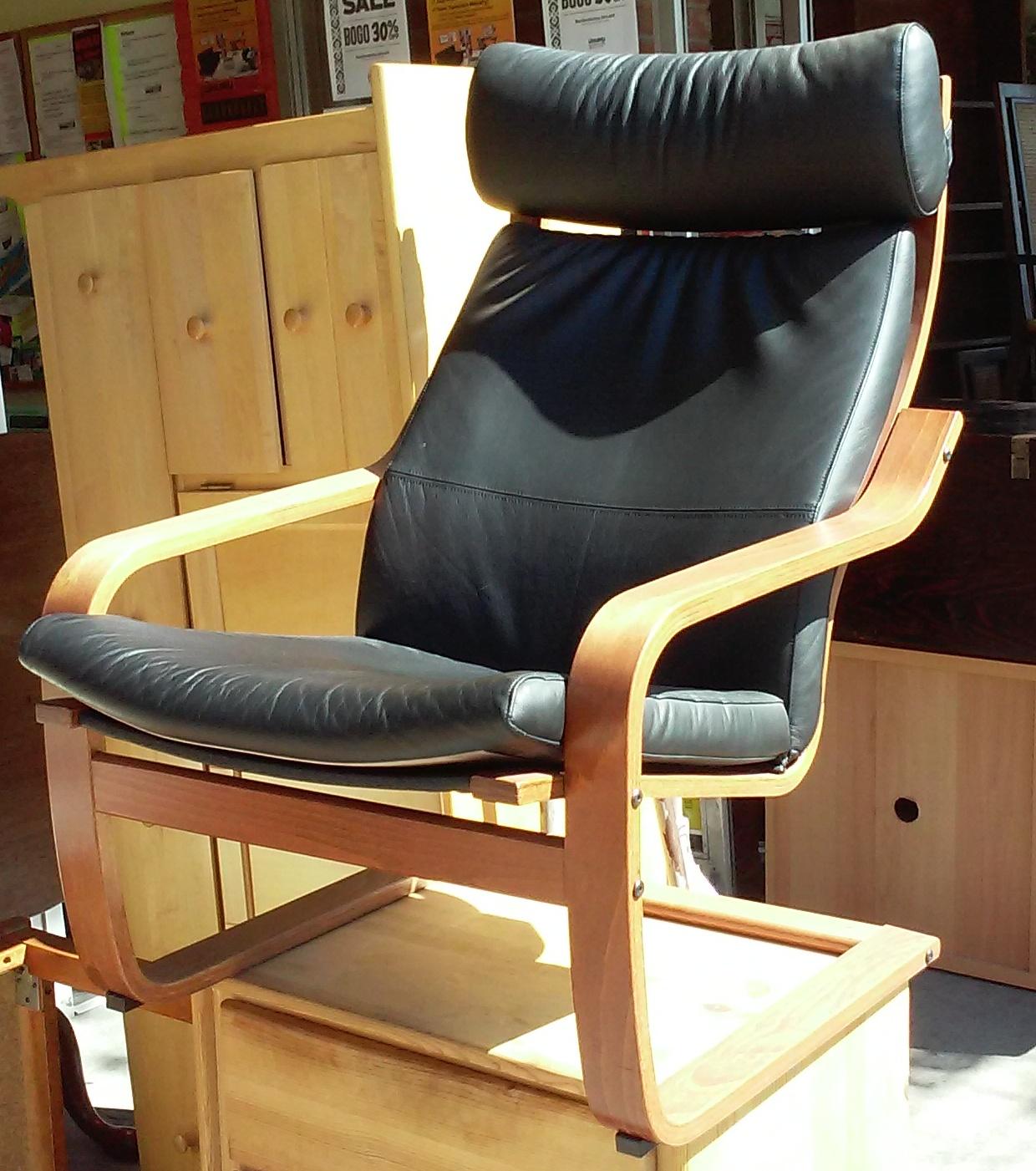 Uhuru furniture collectibles sold 2955 black leather poang chair 85 - Poang chair leather ...