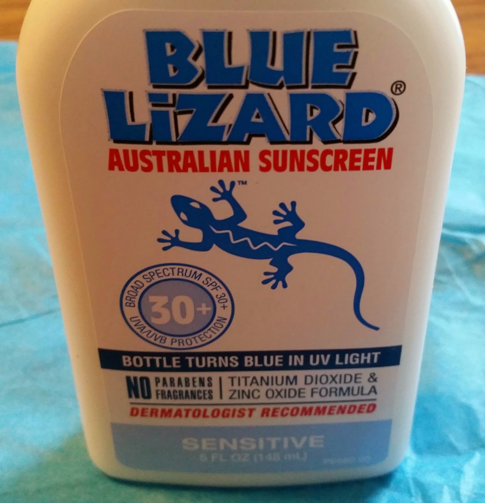 Bottle of Blue Lizard sensitive sunscreen