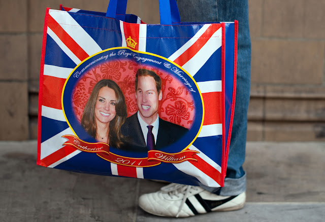 William and Kate wedding memorabilia. Tote bag featuring a photo of the happy couple. Laser Kiwi. marchmatron.com