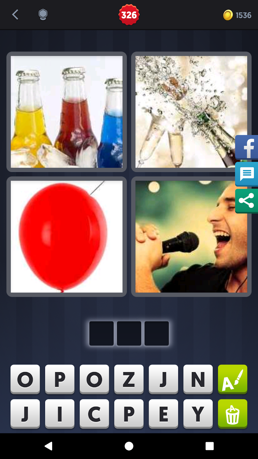 4 pics 1 word answers solutions level 326 pop answer pop keyword 3 letter word pop red bottle sing expocarfo Gallery