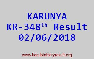 KARUNYA Lottery KR 348 Result 02-06-2018