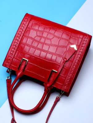 Red Genuine Leather Handbags Croc Shoulder Bags
