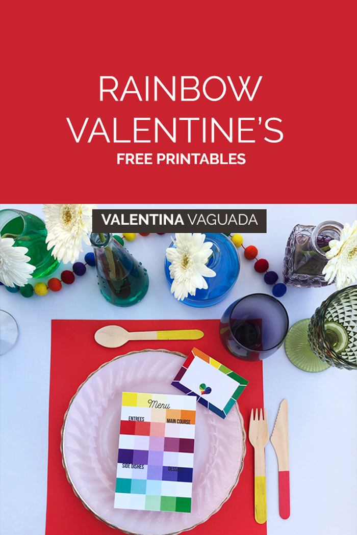 freebie, san valentin, valentine's day, free printable, rainbow, arcoiris, love is love, love, tableset, rainbow table