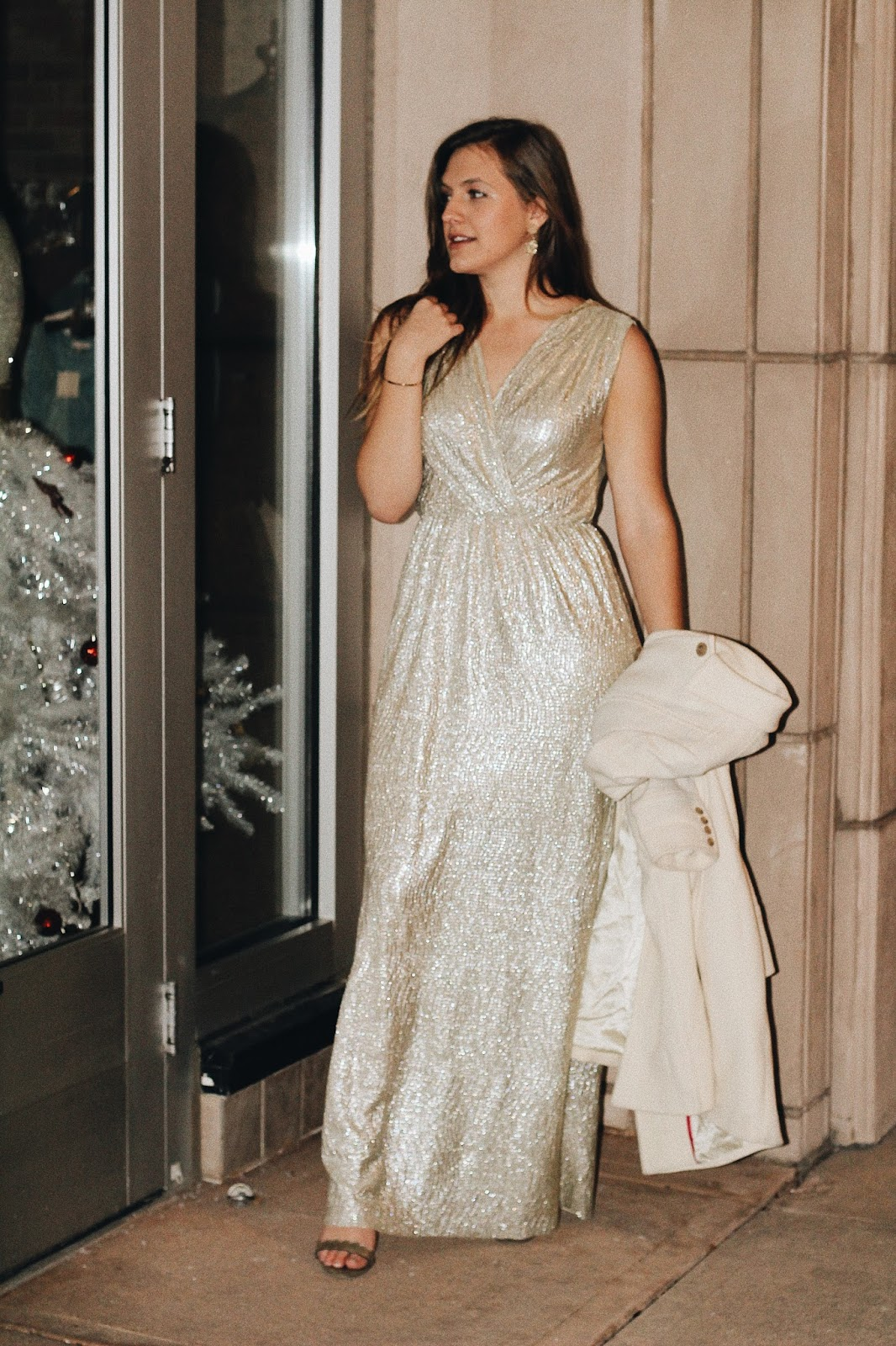 vintage gold glam maxi gown