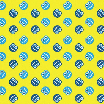 Yellow pattern with funny smiling blue bugs with sharp teeth
